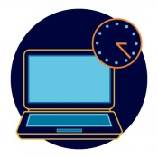 Laptop with clock icon