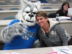 WolfPack Welcome - Madison College student with Wolfie