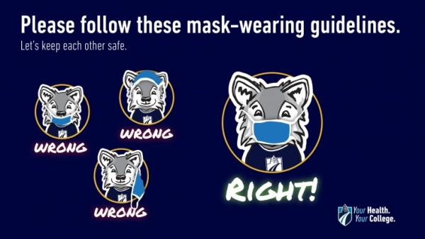 Graphic of 4 wolfies wearing masks