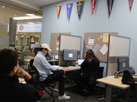 students in the transfer center
