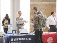 Student talking to Stout Rep