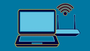 computer monitor and wifi graphic
