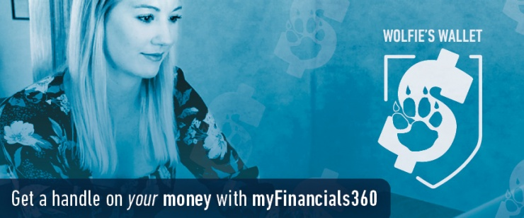 Woman uses laptop with words across the image that say get a handle on your money with myFinancials360.